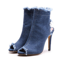 plus size 34-43 Fashion Women Summer Gladiator sandals Casual Ankle Jeans Thin High Heels Open Peep Toe Denim Zipper Boots shoes