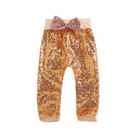 Baby Girls Pants Summer Baby Infant Girl Bling Sequin Casual Sweatpants Bow Elastic Waist Pants Clothes