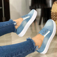 Women Denim Canvas Loafers Patchwork Jean Loafers Lady Round Toe Flat Shoes Breathable Shallow Woman Slip On Jeans Sneakers  D30