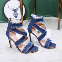 2019 New Summer Fashion Denim Jeans Sandals Women Super High Sandalias Shoes Woman High Heels Chaussure Femme N36