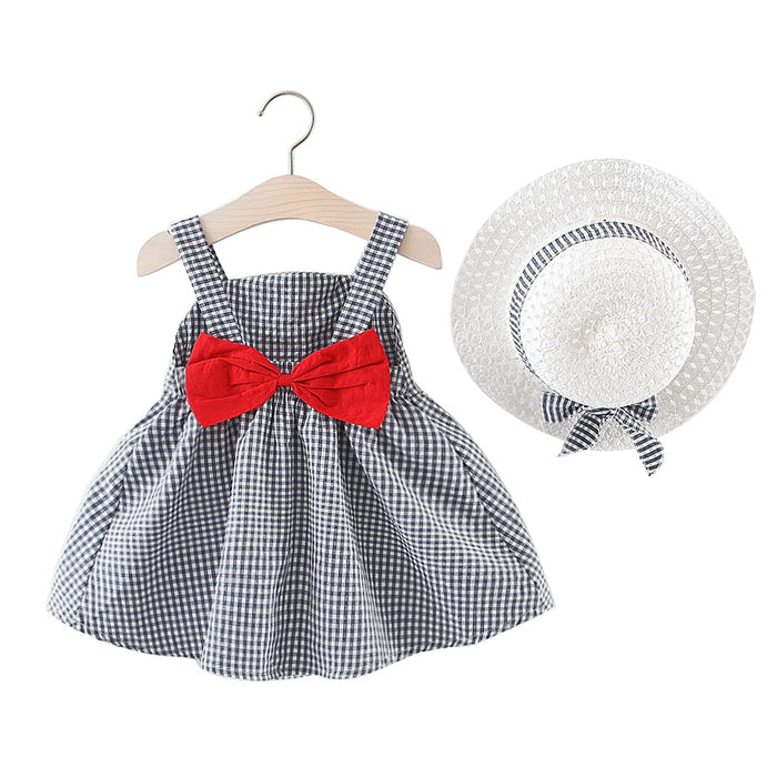 Baby Girls Dress Summer Sleeveless Clothing With Hat Big Bowknot Plaid Cotton Kid
