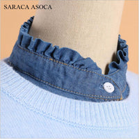 Nwe Fashion Jean Shirt Detachable Collars Women All-Macth Sweater Stand up Denim Fake Collar For Girls B187