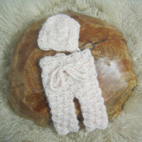 Baby photography props,handmade knit shell pattern overalls for newborn photography props,Mohair pants with hat,baby gift