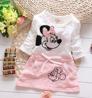 2018 New The Latest Fashion Children's Baby Dress Princess Minnie Print Cartoon Pattern 100% Cotton 0-2Years Baby Girl Dresses