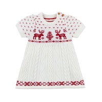 Knitted Baby Clothes Christmas Baby Dress 100% Cotton Deer Christmas Inafnt Baby Costume Baby Girl Dress Toddler Dresses