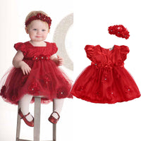 2019 Baby Toddler Girl Clothing Dress bubble puff sleeve Flower Headwear Princess Red Wedding Party Pageant Tulle TUTU Dresses