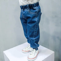 2018 Blue Baby Jeans Pants 1-3Years Old Baby Boys Girls Trousers Spring Autumn Solid Kids Pants Joker Korean Style Infant Pants