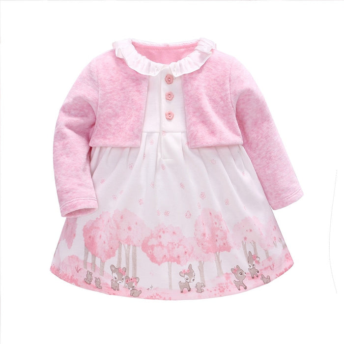 Vlinder Baby Girl Dress baby girl clothes printed flower Spring autumn Lovely Pink Princess Dress set 2pcs 6-24M