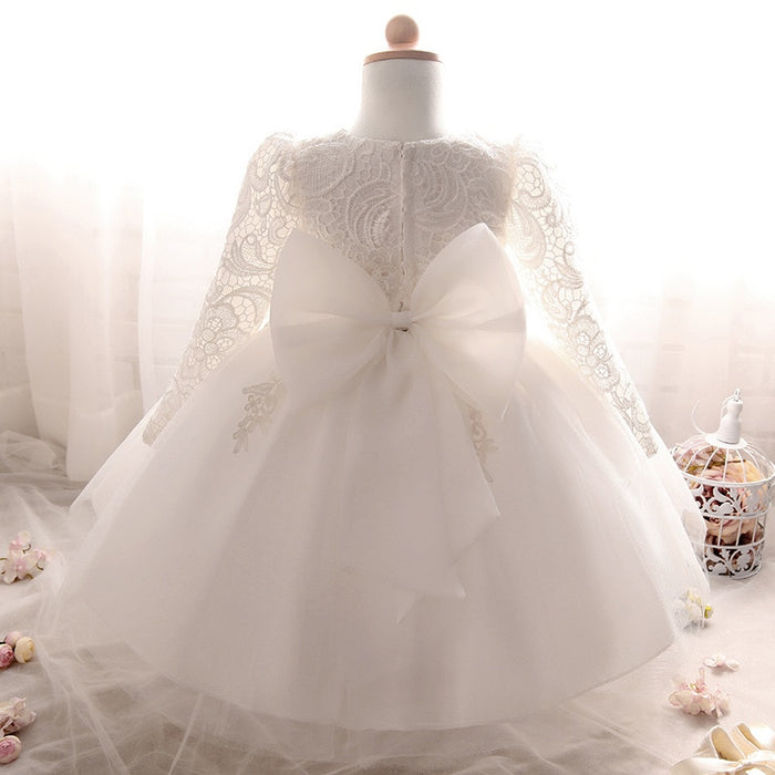 2019 Winter Long Sleeve Dress Bow Baptism Dress For Newborns Baby Girl Dresses 2 1 Year Birthday Princess Dress Girl 3 6 9 Month