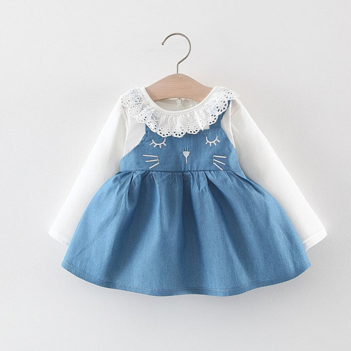 New Fashion Girls Ruffles Patchwork Long Sleeve Cotton Dress Baby Girls Dress Autumn Clothes Kids Girls Ball Cute Dress 1- 3Year