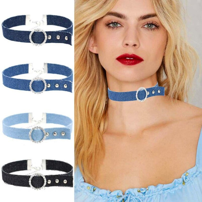 4Pcs/Set Blue Denim Rhinestone Rope Choker Necklace For Women Jeans tattoo Collar Collier ras de cou colar bijoux femme CR038