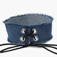 New Sexy Harajuku Lace Up Fashion Jewelry Punk Gothic Blue Jean Choker Necklaces