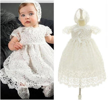 European and American extended baptismal extra Long dress Christening Gown Baby Party Dress Lace wedding wear with a hat