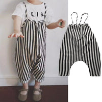 0-4T Chiffon Baby Boys Pants Toddler straps Striped Long pants