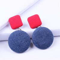 Renya Colorful Jean Fabric Button Pendant Earrings Red Green Black Dangling