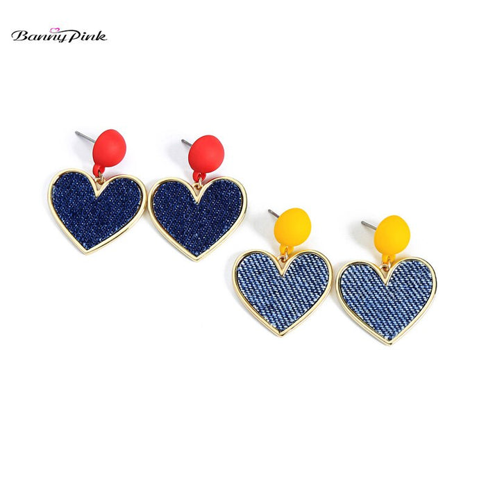 Banny Pink Lovely Heart Pendant Studs Earrings For Women New Jeans Denim Statement Post Earrings Cute Korea Gift Earrings Brinco