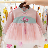 Melario Sequin Baby Dresses Autumn New Baby Girls Clothes Long Sleeve Cute Mesh A-Line Baby Princess Dress Infant Kids Clothing