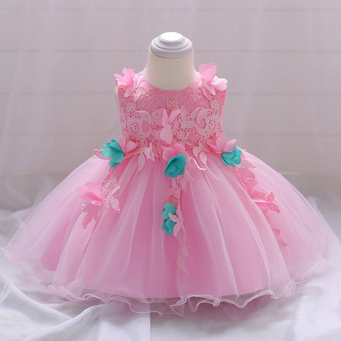 Cute Baby Dresses for Girls Birthday  sleevesless  Princess Dress For Girl Baptism Gown Girls 1 2Year Vestido Infantil  clothing