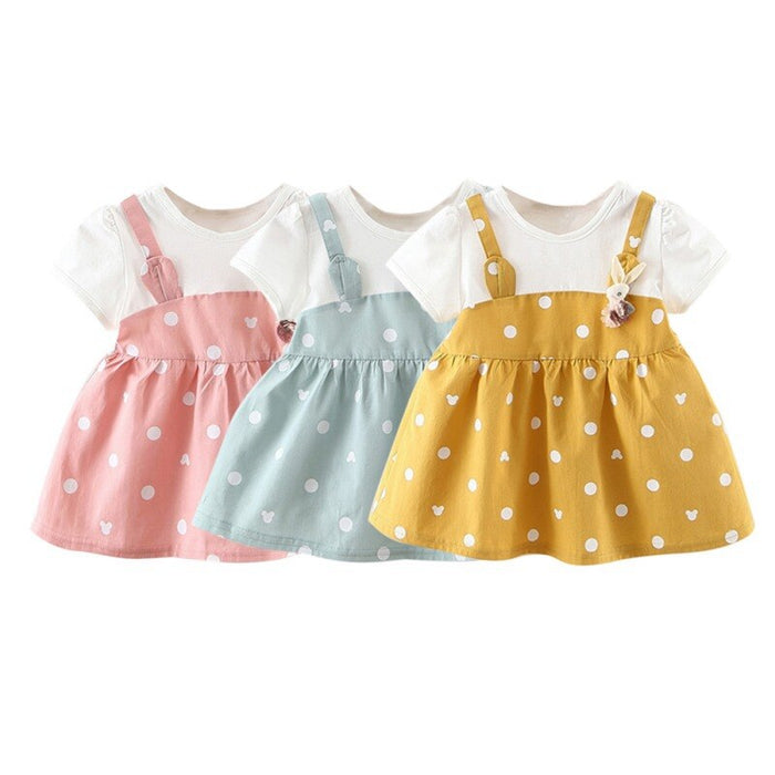 Summer Dot Print Party Dresses Girls Fashion Baby Clothes Newborn Baby Dress Fake 2 Piece Cotton Toddler Kids Princess Dress