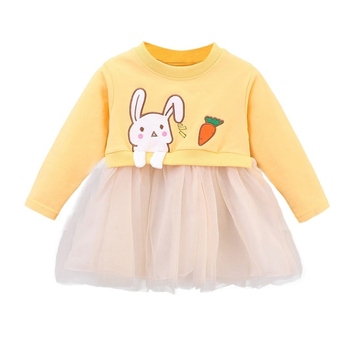 Fashion Baby Girl Clothes Autumn Newborn Baby Dress Cotton Toddler Girls Dress infant Kids Cartoon Yarn Party Dresses