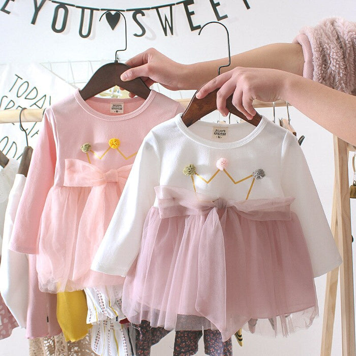 Cute Long sleeve Baby Dresses for 0-2T Girls Birthday Princess Dress fashion Lace stitching Infantil clothes