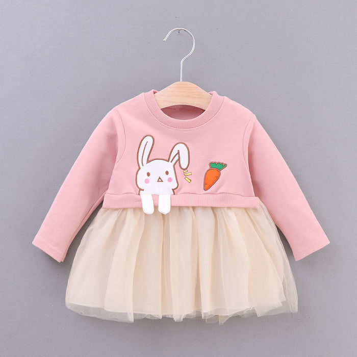 Long Sleeve Baby Girls Dress 2019 New Cartoon Rabbit Cute Newborns Princess Clothing Spring Fall Casual Infant Baby Dresses