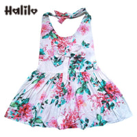 Halilo 3pcs/lot Floral Baby Dress Sleeveless Red Bow 1st Birthday Dress Baby Girl Summer Clothes Infant Girls Dresses Wholesale