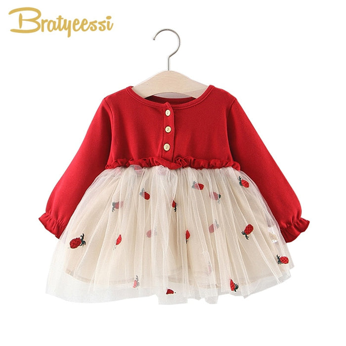 Princess Baby Dress Long Sleeve Cotton Voile Baby Girl Dress Birthday A-Line Baby Girl Clothes Kids Dresses Infant Clothing