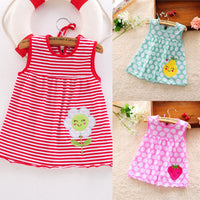 Baby Girl Sleeveless Dress Toddler Cute Baby Cotton Flower Dot Striped Tees Dress T-Shirt Vest For 0-24 Months Baby Girl