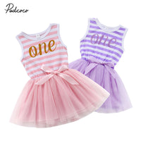 5M-24M Infant Newborn Baby Girls Tutu Dress Bow 1st Birthday Party Wedding Tulle Dress Toddlers Baby Girl Costumes Summer