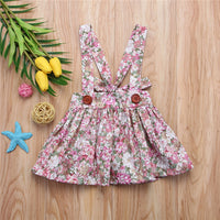 2018 New Girls Dresses Summer Fashion Toddler Kids Baby Girls Floral Printing Sleeveless Clothes Party Bib Strap Tutu Dress 0-4Y
