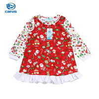 CANIS Newest Fashion Cute Red Toddler Kids Baby Girl  Dresses Cotton Christmas Santa Princess Party Dress Outfits