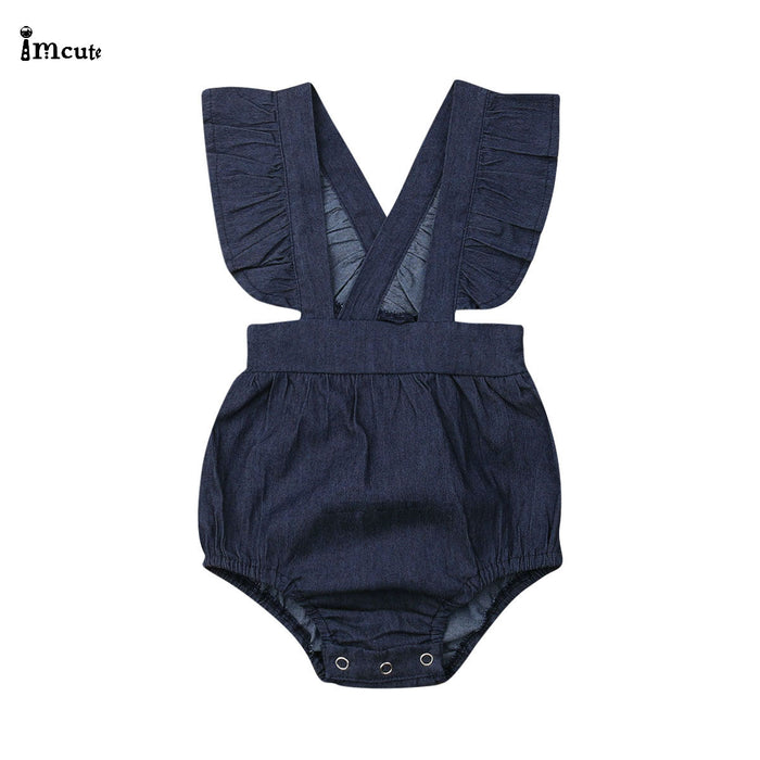 Newborn Infant Toddler Baby Girls Denim Overalls Kids Children Clothing Casual Ruffles Jumpsuits Bib Jeans Pants