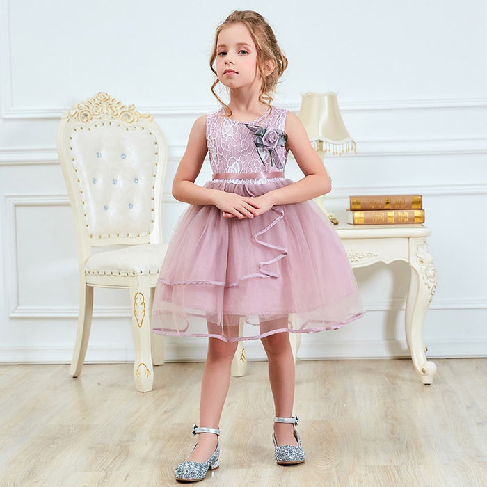 2 4 6 Years Girls Dress Children Summer Flower Fluffy Cake Smash Clothes Kids Princess Dresses for Girls Party Girls Clothing