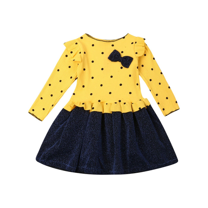 6M-4Years Toddler Baby Girls Long Sleeve Dress Bow Dot Party Wedding Birthday Dresses For Baby Girls Autumn Winter Costumes