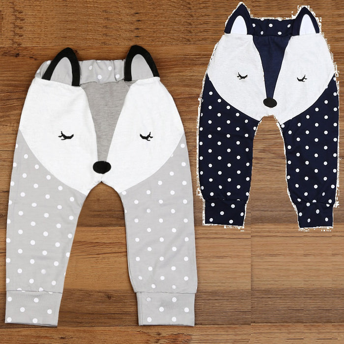 Fox Baby Boy Pants Grey Navy Baby PP Pant Underpants Leg Warmers Baby Girls Tights 100% Cotton Newborn Trousers Soft Dot Panties