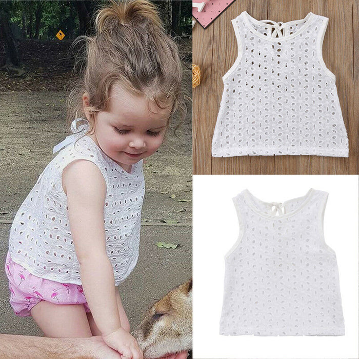 2019 Newborn Baby Girl Summer Sleeveless T-shirt Tops Kid Toddler Casual White T Shirt Baby Girl Chiffon Tops