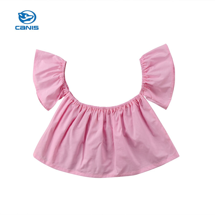 CANIS 2019 New Cute Newborn Toddler Infant Baby Girl  Off Shoulder Crop Top T-shirt Child Summer