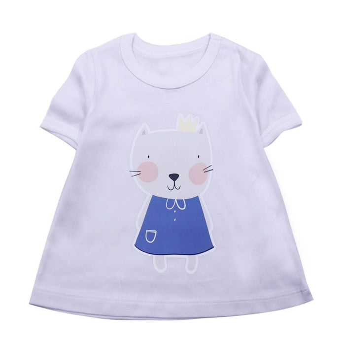 Baby Girl clothes short T-shirt cute Cartoon Cat printed cotton Children clothing T-shirt New summer Tee top Girls
