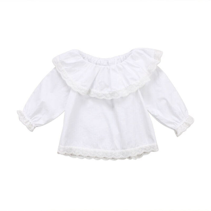 Newborn Infant Baby Girls Long Sleeve Tops T-shirts Lace Off Shoulder Top Girl Clothes