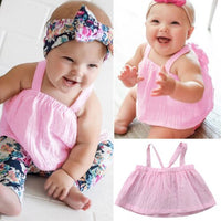 Hot Cute Infant Newborn Baby Girl Pink T-shirt Tube Tops Blouse Shirts Clothes 0-24M