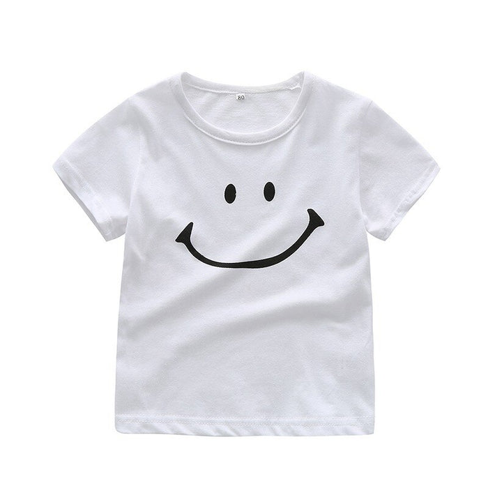 Summer Kids Girl Boy Short Sleeve T-Shirts For Kids Smile Printed Tops Tees Shirts Casual Blouse children smile print tops shirt