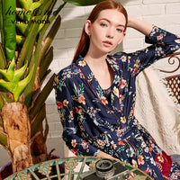 Vero Moda 2019 New Women's Drapery Botanic Print Lace-up Homewear Sleepwear | 3183P9501