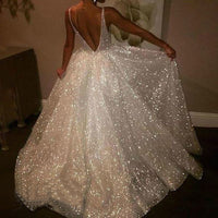 Women Sexy V Neck Sleeveless Dress Vest Solid Sexy Sling Long White Dress Party Night Glitter Dress sukienki na wesele damskie