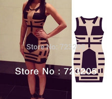 New Geometric Style Bandage Dress Hot Selling Eveing Novelty Vestidos Sleeveless Sexy See Through Club Print Dress