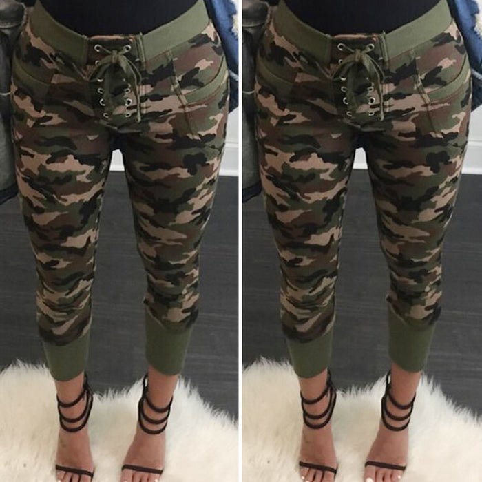 Womens Camo Cargo Trousers Pants Military Army Combat Camouflage Jean Pencil Slim Soft Strechable