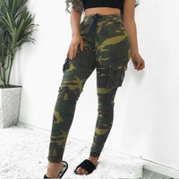 Women Camouflage Long Pants Camo Cargo Trousers Casual Summer Pants Military