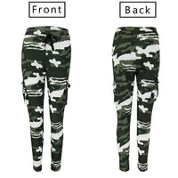 Womens Camo Cargo Trousers Casual Drawstring Pants High Waist Skinny Army Combat