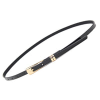 Fashion Skinny Neon Metal Buckle Brand Female PU Leather Thin Belt Woman Waistband