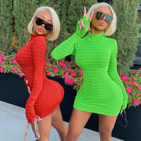 NCLAGEN Sexy Neon Green Red Plaid Dress Long Sleeve With Gloves Clubwear Party Hip Package Bodycon Women Autumn Mini Outfits